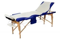 3 dalių masažo stalas baltas su mėlynais kraštais